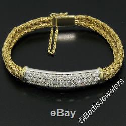 Roberto Coin 18K Two Tone Gold 6.5 2.10ctw 3 Row Diamond Woven Silk ID Bracelet
