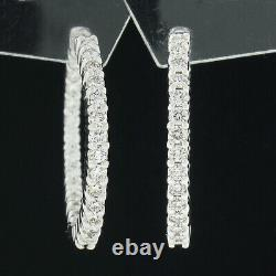 Roberto Coin 18K White Gold 1.59ctw In and Out Round Prong Diamond Hoop Earrings