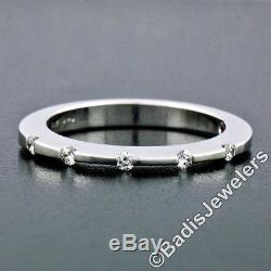 Roberto Coin 18K White Gold 1.90mm Thin 5 Channel Set Diamond Band Ring with Box