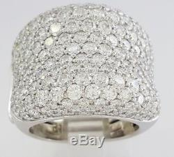 Roberto Coin 18K White Gold 5.7 ct Round Cut Diamond 13 Rows Cocktail Ring