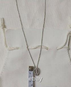 Roberto Coin 18K White Gold Barocco Diamond Pendant Chain Necklace NWOT $1200