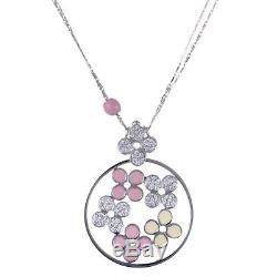 Roberto Coin 18K White Gold Diamond Pave with Pink and Yellow Enamel Flowers