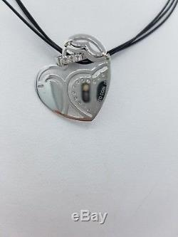 Roberto Coin 18K White Gold Diamond & Pink Enamel Hinged Heart Necklace
