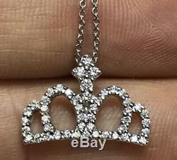 Roberto Coin 18K White Gold Diamond Tiny Treasures Crown Chain Necklace WithPouch