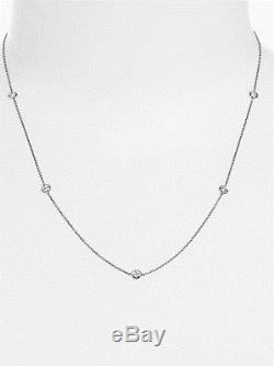 Roberto Coin 18K White Gold Five Diamond Station Necklace-NWT & Box MSRP $1080