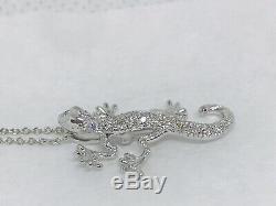 Roberto Coin 18K White Gold Tiny Treasures Diamond Gecko Pendant Necklace NWOT
