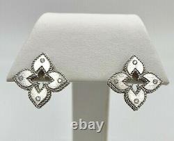 Roberto Coin 18K White Gold Venetian Princess Diamond Stud Earrings