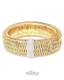 Roberto Coin 18K Y/W Gold Primavera Mesh Diamond Bangle 557765AJBAX0 MSRP $6,900