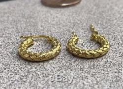 Roberto Coin 18K Yellow Gold APPASSIONATA Hoop Woven Earrings ITALY