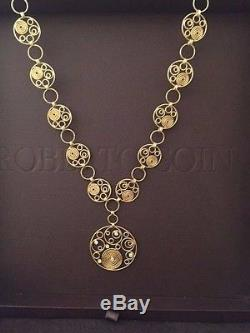 Roberto Coin 18K Yellow Gold / Diamond SWIRL Design Necklace & Bracelete Set