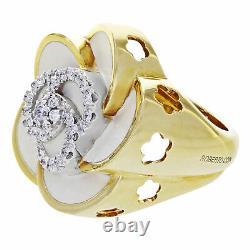 Roberto Coin 18K Yellow Gold Original Diamond Flower Ring 0.35 Cttw Size 7