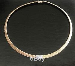 Roberto Coin 18K Yellow Gold Pave Diamond 16 Woven Silk Weave Choker Necklace