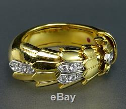 Roberto Coin 18K Yellow White Gold Diamond Animalier Cobra Snake Ring VIDEO
