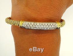 Roberto Coin 18K Yellow White Gold Diamond Bar Vintage Heavy Bracelet