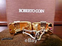 Roberto Coin 18K Yellow & White Gold Silk Weave Earrings with. 60ct of Diamonds