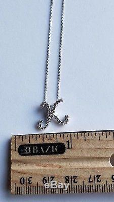 Roberto Coin 18K white gold Diamond Cursive K Letter Initial Necklace pendant