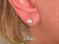 Roberto Coin 18Kt Cento Diamond Tulip Stud Earrings YG. 80 ct H SI1 $6k Retail