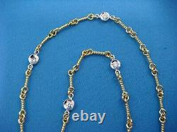 Roberto Coin 18 K Gold 7 Stations Diamond Necklace 16.5 Inches Dog-bone Style