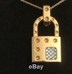 Roberto Coin 18 kt Yellow Gold Lock Pendant with Diamonds and Chain Necklace