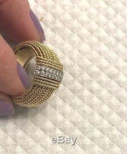 Roberto Coin 18k Diamonds & Solid Gold braided RARE 7 Appassionata RING heavy