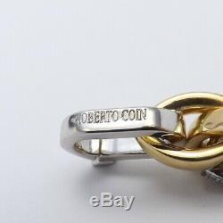 Roberto Coin 18k Gold 750 Italy Oval Pavé Diamond Link Bracelet 25.4gr 8