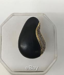Roberto Coin 18k Gold Diamond Ebony Wood Ring 1.05 Carat Amazing Work Of Art 7