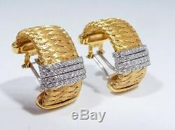 Roberto Coin 18k Gold Silk Weave Earrings With 4 Rows Of Diamonds 11.9 Dwt