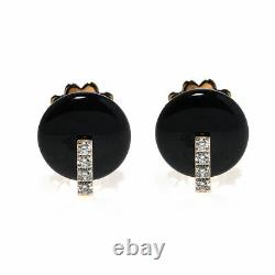 Roberto Coin 18k Rose Gold Diamond 0.16ct And Black Jade Earrings 8882317AXERBJ
