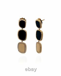 Roberto Coin 18k Rose Gold Diamond 0.36ct And Black Jade Earrings 888610AXERJX