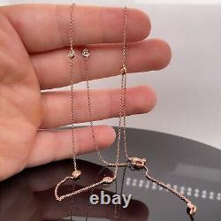 Roberto Coin 18k Rose Gold Diamond Station Necklace New $1080
