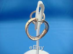 Roberto Coin 18k Rose Gold Twisted Hoop Earrings With Diamonds 16.1 Grams, Italy