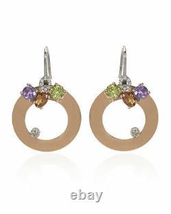 Roberto Coin 18k Rose & White Gold Diamond & Amethyst Earring 3304813AHERX