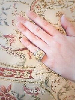 Roberto Coin 18k Two-tone Appassionata Diamond Ring Weave Size 6