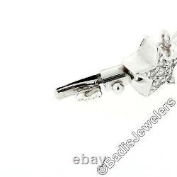Roberto Coin 18k White Gold 1.40ctw Pave Set Round Diamond Heart & Star Bracelet
