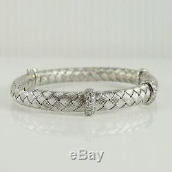 Roberto Coin 18k White Gold 1.46tcw Silk Weave Diamond Station Bracelet