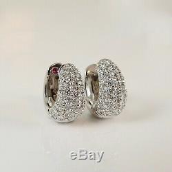 Roberto Coin 18k White Gold 1.50tcw Pave Diamond Huggie Earrings