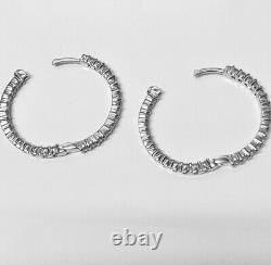 Roberto Coin 18k White Gold 1.53ctw 25mm Diamond Hoop Earrings