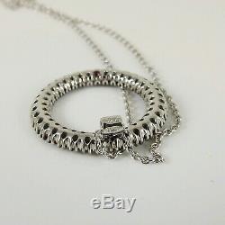 Roberto Coin 18k White Gold Black 24mm Sapphire Diamond Fantasia Circle Necklace
