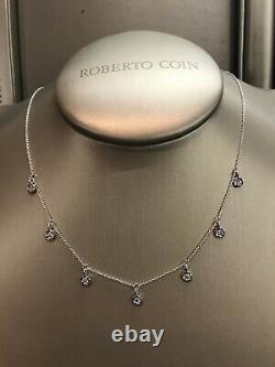 Roberto Coin 18k White Gold Chain 7-station Diamond Dangle Necklace
