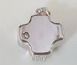 Roberto Coin 18k White Gold Cross Pendant with Diamond RC480OB