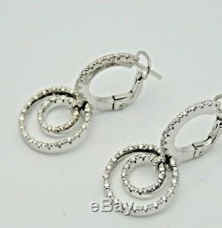 Roberto Coin 18k White Gold Diamond Double Circle Drop Earrings