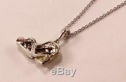 Roberto Coin 18k White Gold Diamond Enamel Adorable Puppy Dog Necklace Pendant