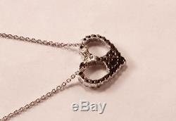 Roberto Coin 18k White Gold Diamond Love Peace Heart Symbol Necklace Pendant