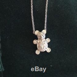 Roberto Coin 18k White Gold & Diamond Teddy Bear Pendant Necklace TINY TREASURES