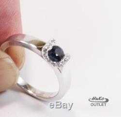 Roberto Coin 18k White Gold Sapphire Diamond Ring Engagement Sz 7/t54/uk O