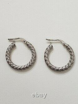 Roberto Coin 18k White Gold Woven Round Hoop Earrings