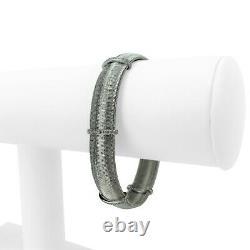 Roberto Coin 18k White Gold and Diamond Flex Mesh Bracelet Italy 7