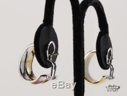 Roberto Coin 18k Yellow And White Gold Hoop Post With Omega Lock Earrings