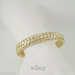 Roberto Coin 18k Yellow Gold 12mm Wide Woven Silk Bangle Bracelet