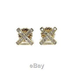 Roberto Coin 18k Yellow Gold. 40tcw Diamond X Earrings